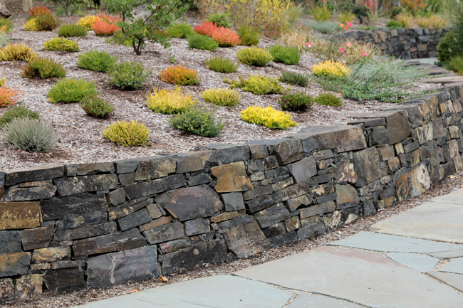 Basalt Retaining Wall With Heather