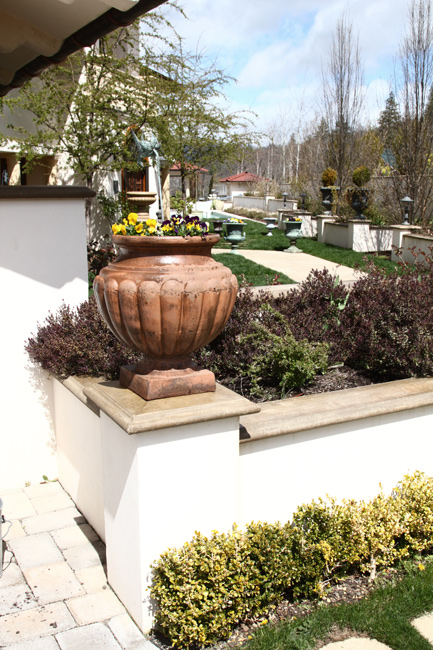 Retaining walls landscape design ashland medford for Stucco garden wall designs